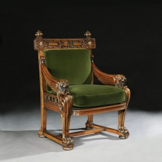 Fine 19th Century Lion Monopodia Armchair After Thomas Hope