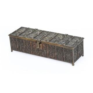 Antique Bronze Gothic Revival Jewellery Box Casket 19th Century