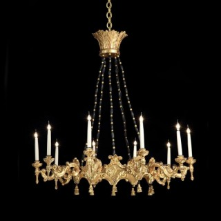 Very Large Italian Giltwood 10 Branch Baroque Style Chandelier