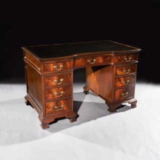 Quality Mahogany Shaped Pedestal Desk By S & H Jewel Of Holborn