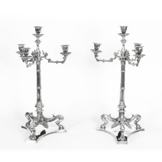 Antique Pair Neo Classcal Silver Plated 4 Light Candelabra Hodd & Linley 19thC