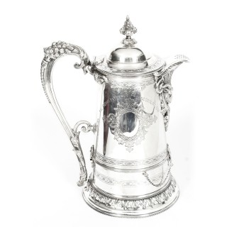 Antique Silver Plate Tudor Patent Wine Cooling Flagon 19th C