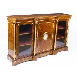Antique Victorian Burr Walnut Sevres Plaque Credenza Side Cabinet 19th C
