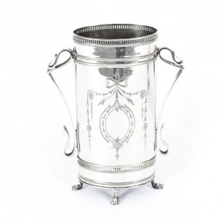 Antique Pair Victorian Neoclassical Silver Plate Vases Circa 1880 19th C