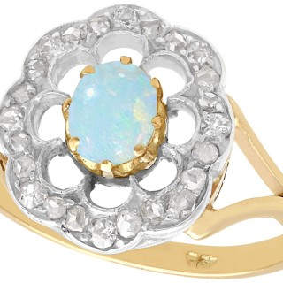 0.28 ct Opal and 0.39 ct Diamond, 9 ct Yellow Gold Dress Ring - Antique Circa 1900