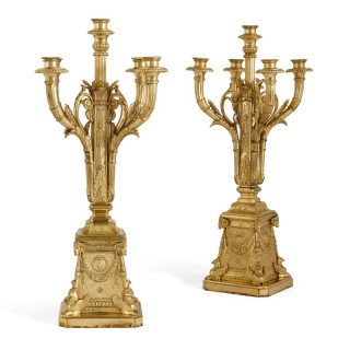 Pair of Neoclassical style gilt bronze candelabra by Susse Frères