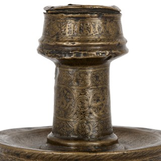 14th Century Mamluk brass candlestick with gold and silver inlays