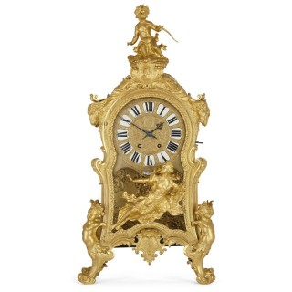 Very large Louis XV style gilt bronze mantel clock by Beurdeley