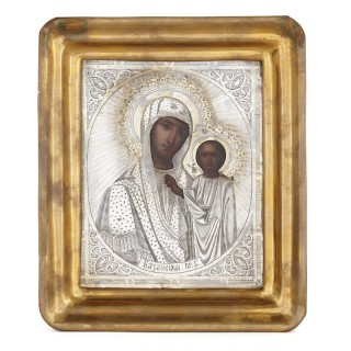 Russian giltwood and silver icon after Our Lady of Kazan
