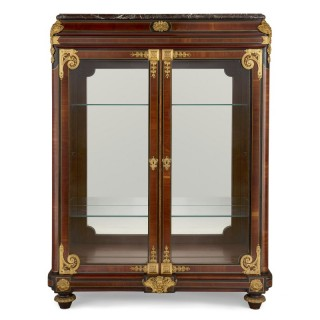 French Neoclassical style gilt bronze mounted ebonised wood display cabinet