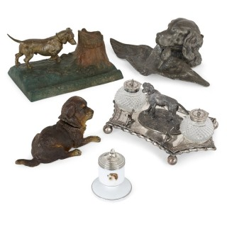 Eclectic collection of five Continental dog-form inkwells