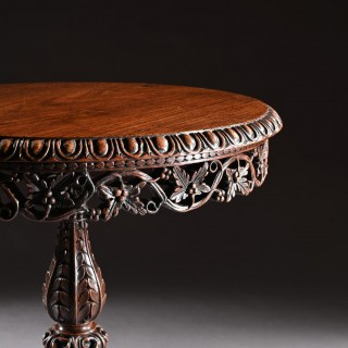 19th Century Finely Carved Anglo Indian Rosewood Tilt Top Tripod Table