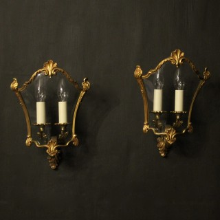 French Pair Of Gilded Bronze Half Lanterns