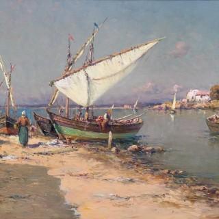 Les Pêcheurs à Martigues  by  Charles Malfroy (1862-1918)