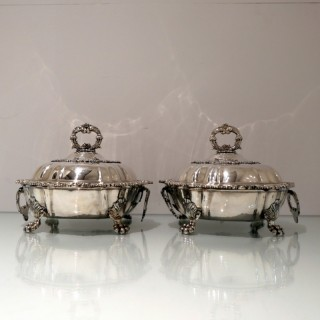 George IV Sterling Silver Pair Entree Dishes on Warmers London 1822 Sebastian Crespell II