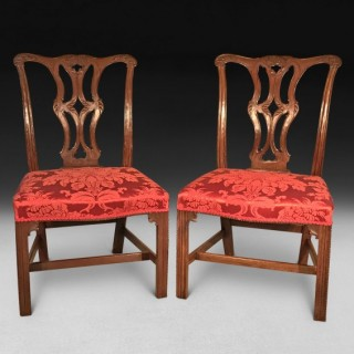 Pair of Chippendale Carved Mahogany Chairs