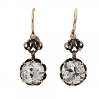 Victorian old mine cushion shape diamond earrings, circa 1890.