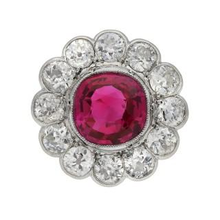 Burmese ruby and diamond coronet cluster ring, circa 1910.