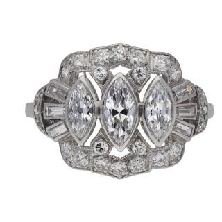 Vintage three stone diamond cluster ring, American, circa 1950.