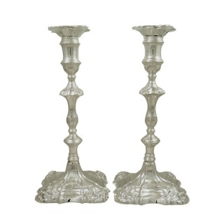 Pair of Antique Georgian Cast Sterling Silver Candlesticks 1756