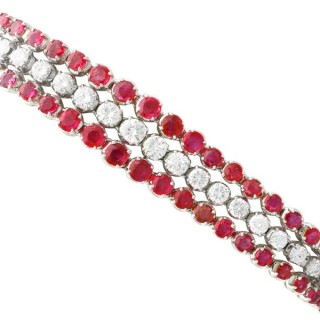 8.12ct Ruby and 3.96ct Diamond, 18ct White Gold Bracelet - Vintage Circa 1950