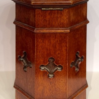 Victorian Gothic octagonal oak  post box.