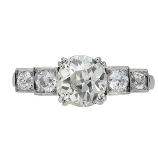 Art Deco diamond flank solitaire ring, circa 1930.