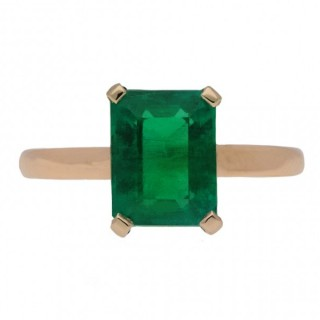 Vintage Colombian Emerald Solitaire Ring, English, circa 1960.
