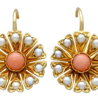 Coral and Seed Pearl, 21 ct Yellow Gold Earrings - Antique Circa 1890