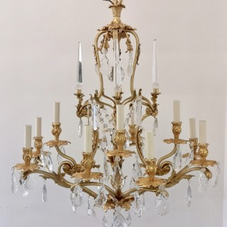Large 19th Century French Gilt Bronze And Crystal 12 Light Chandelier