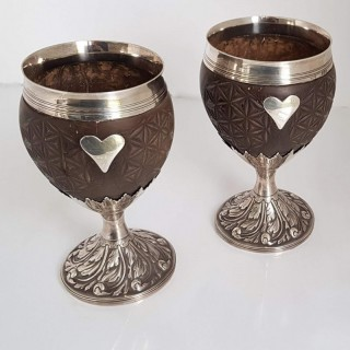 Pair Of Georgian Silver Coconut Cups