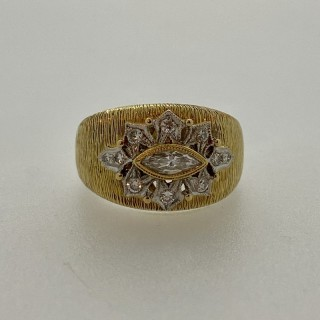 Unique 18ct Gold & Marquise Diamond Continental Cocktail ring