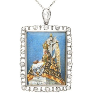1.28ct Diamond and Painted Enamel, Platinum Miniature Portrait Pendant - Antique Circa 1890