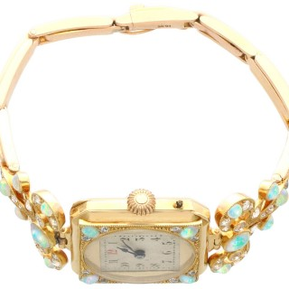 2.12 ct Opal and 1.09 ct Diamond, 18 ct Yellow Gold Cocktail Watch - Antique Circa 1900