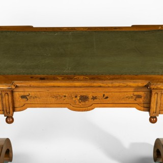 A Victorian walnut marquetry writing table attributed to Edward Holmes Baldock