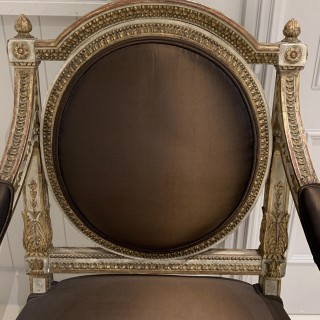 Extremely Fine And Decorative Set Of Four 19th C Italian Painted And Parcel Gilt Armchairs Of Neo-Classical Design.
