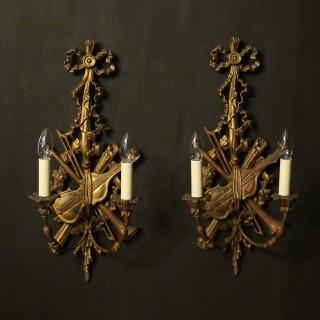 Italian Giltwood Pair Of Twin Arm Wall Lights