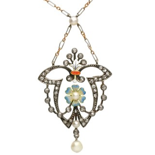0.55ct Diamond, Pearl and Enamel, 12ct Yellow Gold and Silver Pendant - Antique Victorian