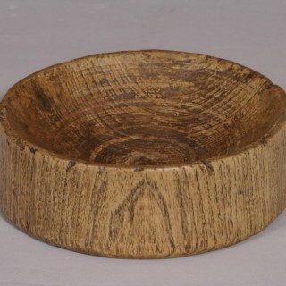 Antique Treen 18th Century Sussex Elm Log Food Bowl