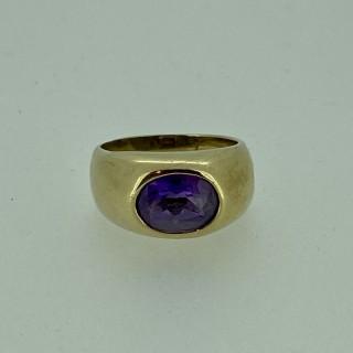 9ct Gold Amethyst Chunky Dress Ring