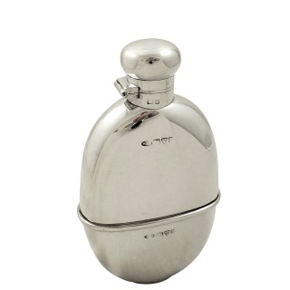 Antique Edwardian Sterling Silver Hip Flask with Cup 1905