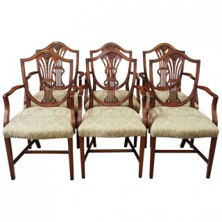 Set of 6 Hepplewhite Style Armchairs