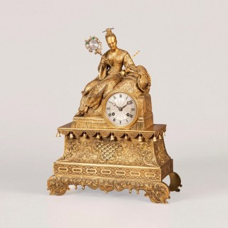 A French Antique Gilt Bronze Mantle Clock
