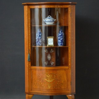 Sheraton Revival Satinwood Corner Display Cabinet