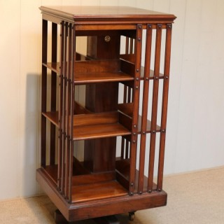 Tall Mahogany Maple & Co Revolving Bookcase