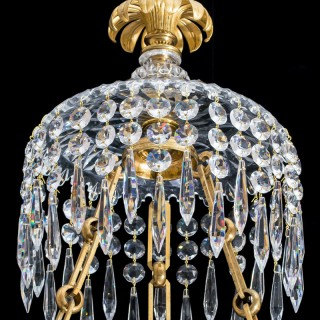 A FINE CUT GLASS GILT LAQUER & BRONZE REGENCY DISH LIGHT OF LARGE PROPORTIONS