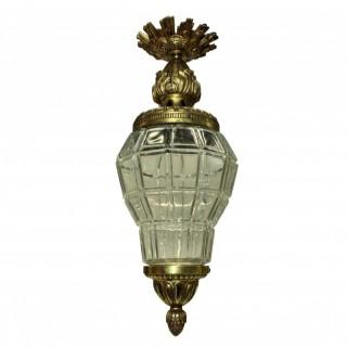 A GILT BRONZE & GLASS VERSAILLE LANTERN