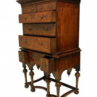 A FINE WILLIAM & MARY CHEST ON STAND