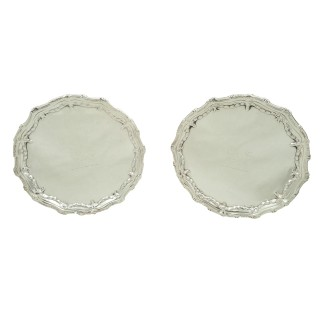 Pair of Antique Georgian Sterling Silver Card Trays 1773 - Lion Crest