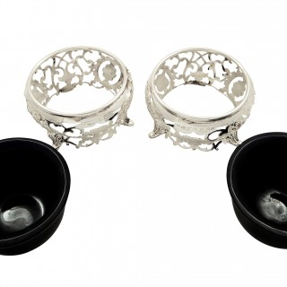 Pair of Antique Victorian Sterling Silver Salts 1899